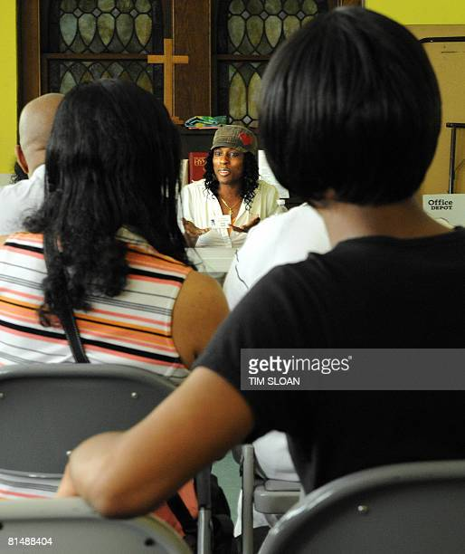 Erika Smith a 23 year old preoperative transgender from Washington DC participates in a workshop titled M to F on June 7 2008 at the Foundry United...