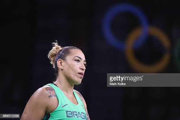 Erika Souza of Brazil looks dejected after defeat during the Women's round Group A basketball match between Brazil and Turkey on Day 7 of the Rio...