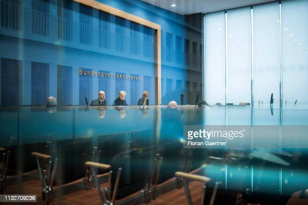 Erika Steinbach President of DesideriusErasmus foundation and Ulrich Vosgerau Lawyer are pictured during a press conference on March 25 2019 in...