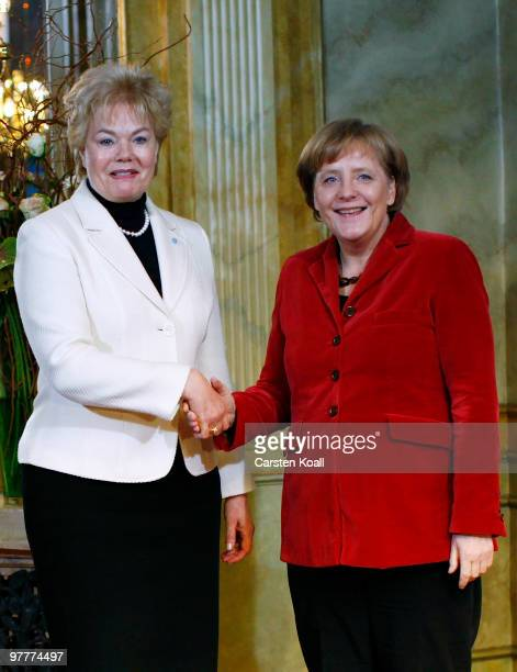 Erika Steinbach President of the Federation Of German Expellees welcomes German Chancellor Angela Merkel at the annual reception at Opernpalais on...