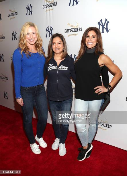 Erika Wachter Ines Rosales and Tina Cervasio attend CC Sabathia Celebrity Softball Game at Yankee Stadium on May 16 2019 in New York City
