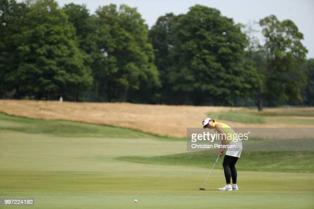 Eriko Gejo of Japan putts on the 18th green during the first round of the US Senior Women's Open at Chicago Golf Club on July 12 2018 in Wheaton...