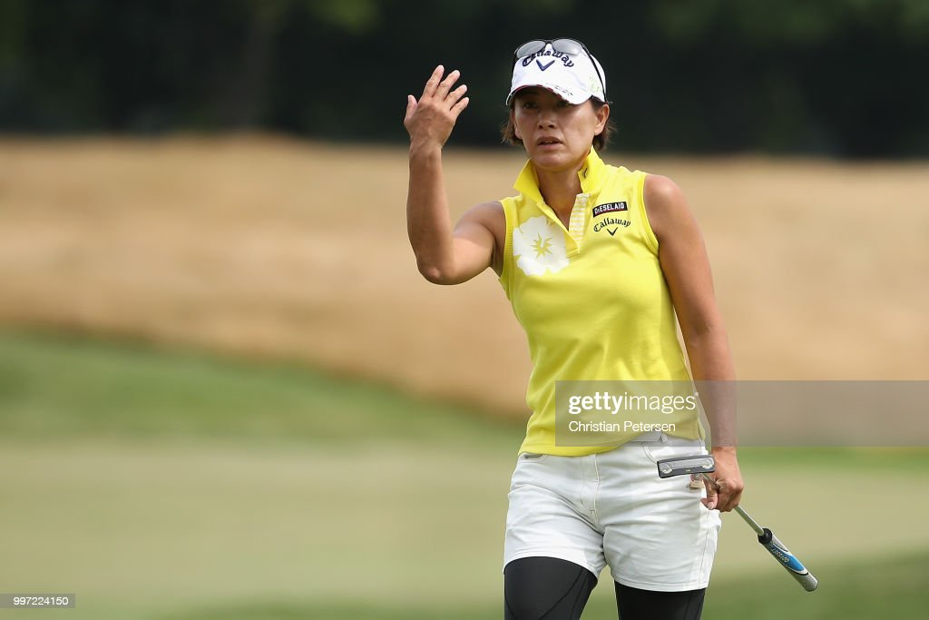 Eriko Gejo of Japan reacts to a missed putt on the 18th green during the first round of the U.S. Senior Women's Open at Chicago Golf Club on July 12, 2018 in Wheaton, Illinois.