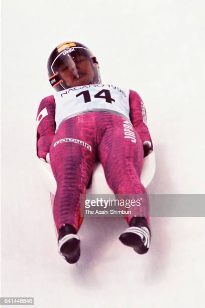 Eriko Yamada of Japan competes in the Luge Women's Singles during day four of the Nagano Winter Olympic Games at Spiral on February 11 1998 in Nagano...