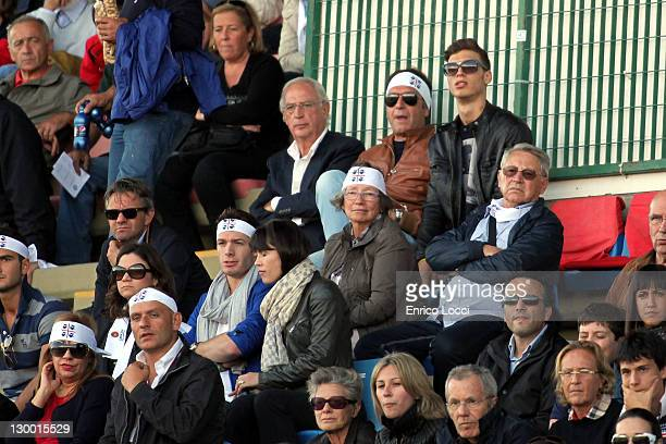 Eriksson Sebastian and Massimo Cellino watch the action during the Serie A match between Cagliari Calcio and SSC Napoli at Stadio Sant'Elia on...