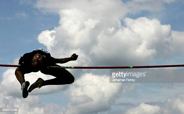 Erin Aldrich jumps enroute to winning the Women's High Jump during the 2005 Nike Prefontaine Classic Grand Prix on June 4 2005 at Hayward Field in...