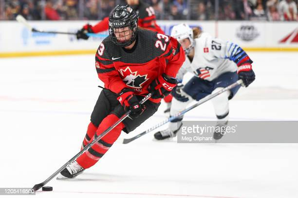 Erin Ambrose of the Canadian Women's National Team handles the puck in the third period against the U.S. Women's Hockey Team at Honda Center on...