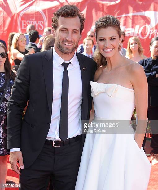 Erin Andrews and Jarret Stoll arrive at the 2014 ESPY Awards at Nokia Theatre LA Live on July 16 2014 in Los Angeles California