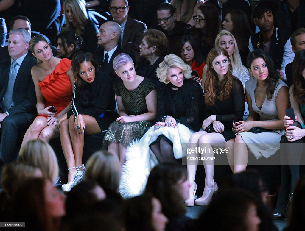 Erin Andrews, Angela Simmons, Kelly Osbourne, Joan Rivers, Kate Mara and Shay Mitchell attend the Badgley Mischka Fall 2012 fashion show during Mercedes-Benz Fashion Week at The Theatre at Lincoln Center on February 14, 2012 in New York City.