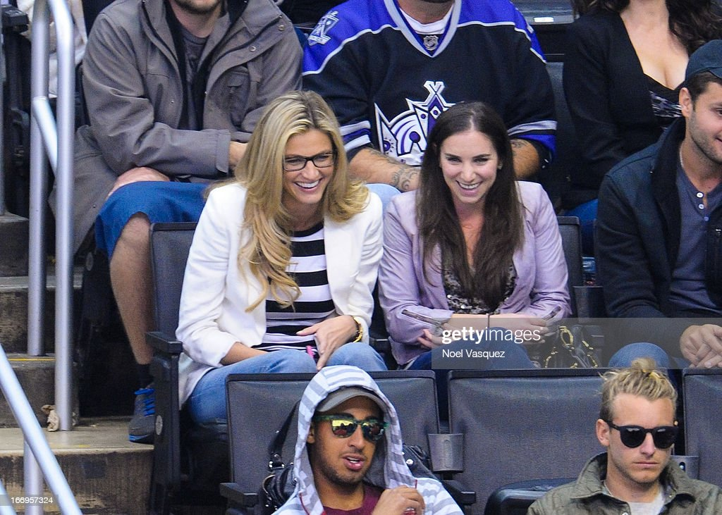 Erin Andrews attends a hockey game between the Columbus Blue Jackets and the Los Angeles Kings at Staples Center on April 18, 2013 in Los Angeles, California.