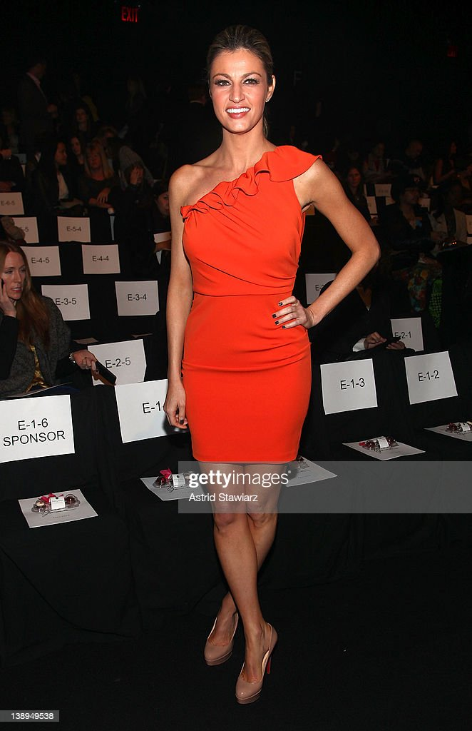 Erin Andrews attends the Badgley Mischka Fall 2012 fashion show during Mercedes-Benz Fashion Week at The Theatre at Lincoln Center on February 14, 2012 in New York City.