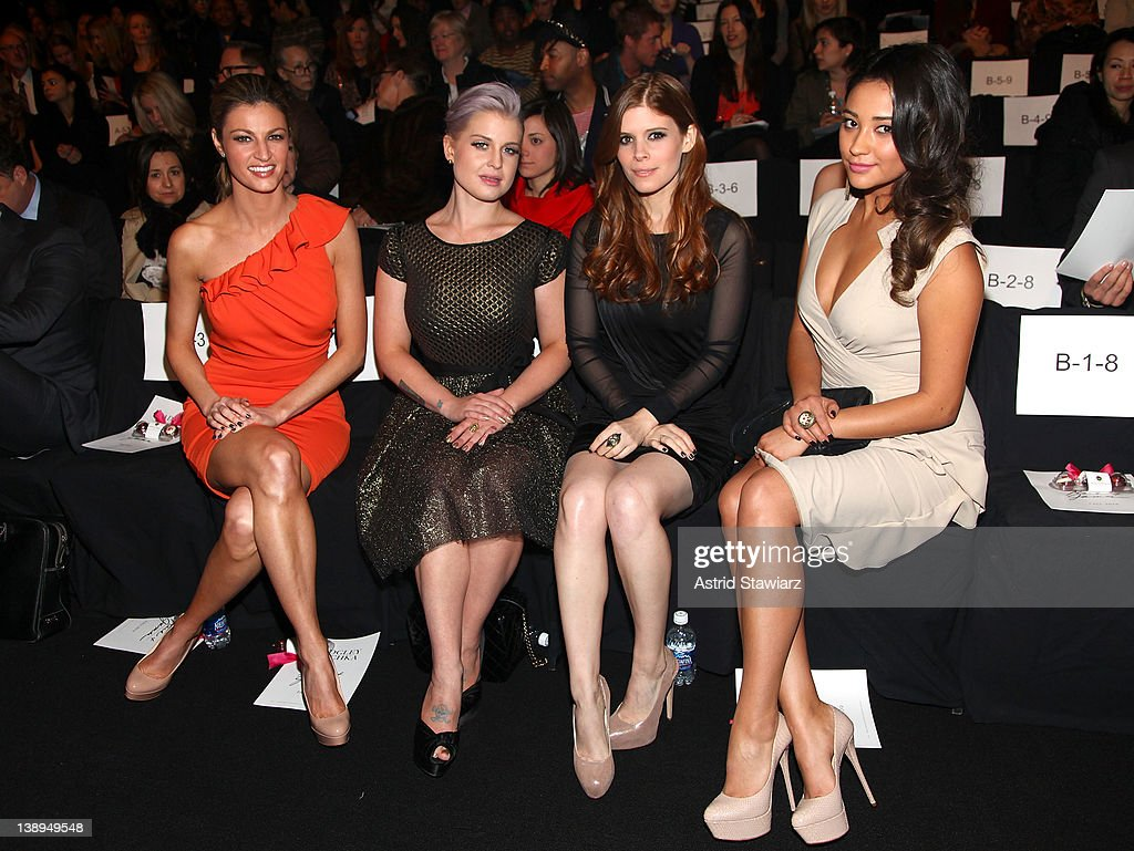 Erin Andrews, Kelly Osbourne, Kate Mara and Shay Mitchell attend the Badgley Mischka Fall 2012 fashion show during Mercedes-Benz Fashion Week at The Theatre at Lincoln Center on February 14, 2012 in New York City.