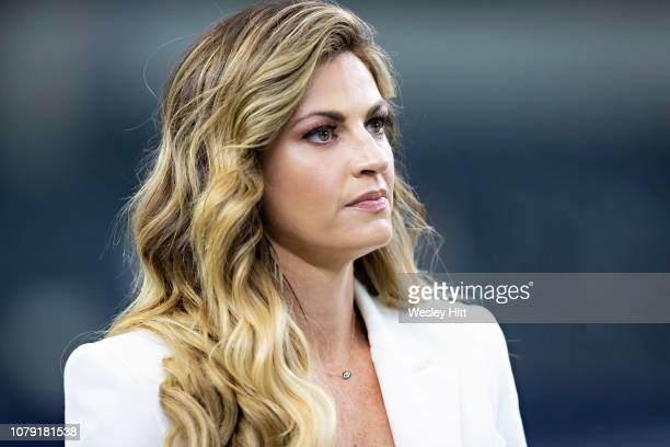 Erin Andrews on the field before a game between the Dallas Cowboys and the Washington Redskins at ATT Stadium on November 22 2018 in Arlington Texas...