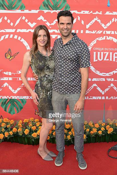 """Erin Ayres and Benjamin Ayres attend the opening of Cirque Du Soleil's """"Luzia"""" at Port Lands on July 28, 2016 in Toronto, Canada."""