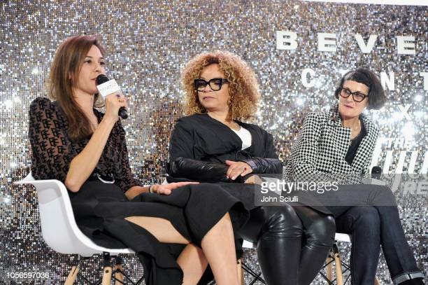 Erin Benach Ruth E Carter and Alexandra Byrne speak onstage at Beverly Center's Grand Reveal Weekend Candidly Costumes with The Hollywood Reporter at...