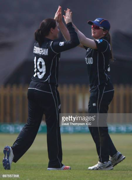 Erin Bermingham of New Zealand celebrates with Amelia Kerr after taking the wicket of Deepti Sharma of India during the ICC Women's World Cup warm up...