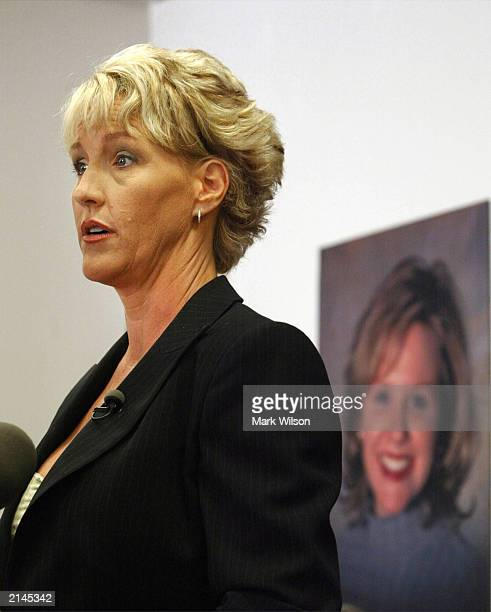 Erin Brockovich speaks at a news conference on Capitol Hill July 8 2003 in Washington DC Brockovich who hosts a show called Final Justice on Lifetime...