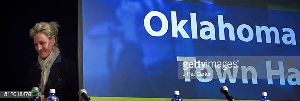 Erin Brockovich speaks during an Oklahoma Earthquake Town Hall Meeting at the University of Central Oklahoma February 23 2016 in Edmond Oklahoma The...