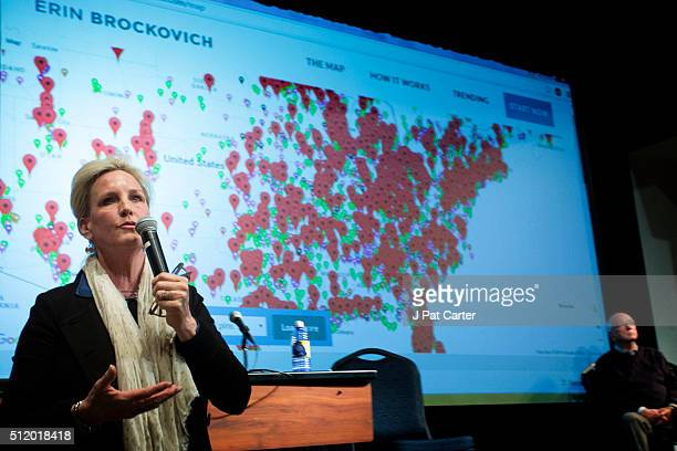 Erin Brockovich uses a computer model to display the growing environmental hot spots as she speaks during an Oklahoma Earthquake Town Hall Meeting at...