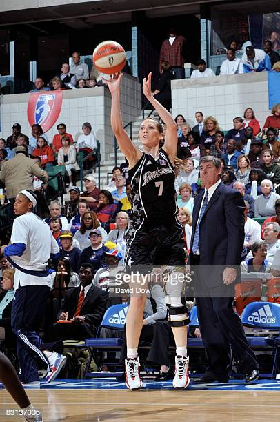 Erin Buescher of the San Antonio Silver Stars shoots against the Detroit Shock during Game Three of the WNBA Finals on October 5 2008 at the Eastern...
