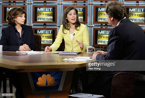 """Erin Burnett , anchor of CNBC's """"Street Signs,"""" speaks as Maria Bartiromo , anchor of CNBC's """"Closing Bell with Maria Bartiromo,"""" and moderator Tim..."""