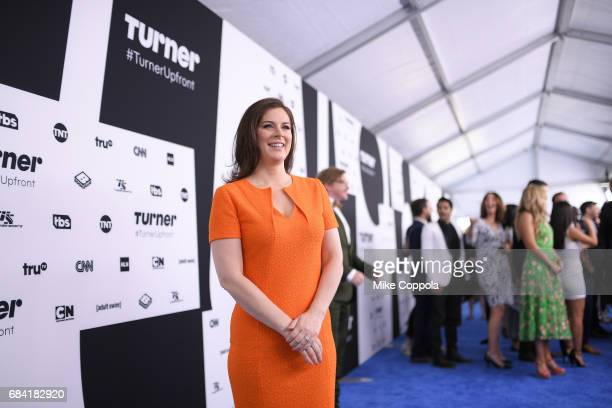 Erin Burnett attends the Turner Upfront 2017 arrivals on the red carpet at The Theater at Madison Square Garden on May 17, 2017 in New York City....