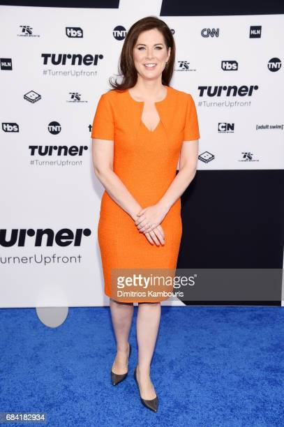 Erin Burnett attends the Turner Upfront 2017 arrivals on the red carpet at The Theater at Madison Square Garden on May 17 2017 in New York City...