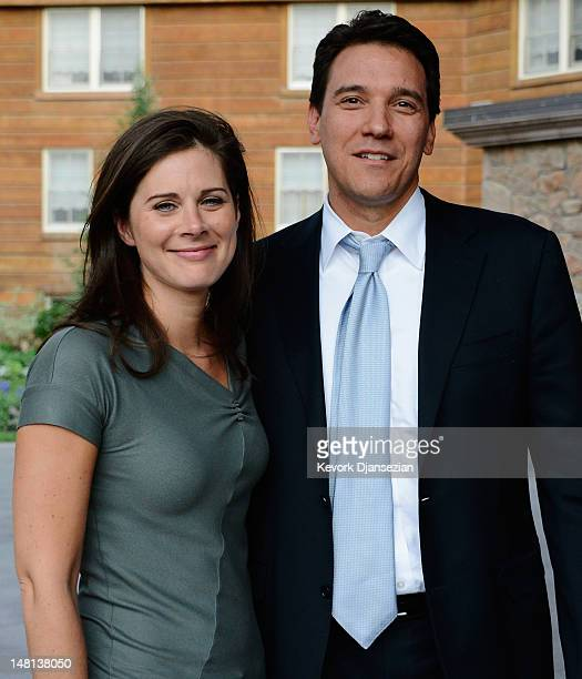Erin Burnett CNN news anchor along with her her finace Citigroup executive David Rubulotta arrive for the Allen Company Sun Valley Conference on July...