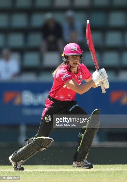 Erin Burns of the Sixers bats during the Women's Big Bash League match between the Hobart Hurricanes and the Sydney Sixers at Blundstone Arena on...