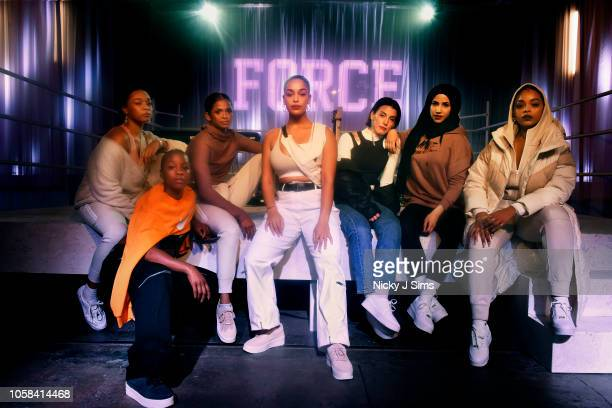 Erin CorrianAlexis Julie Adenuga Ramla Ali Jorja Smith Ana Sting Zeina Nassar and Leah Abbott form the Force is Female crew at Nike's event on...