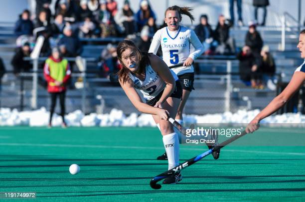 Erin Coverdale of Franklin Marshall passes the ball during the Division III Women's Field Hockey Championship held at Spooky Nook Sports on November...