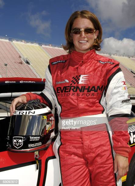 Erin Crocker driver of the Auto Value/Bumper To Bumper Dodge poses during practice for the ARCA RE/MAX Series Hantz Group 200 on June 17 2005 at the...