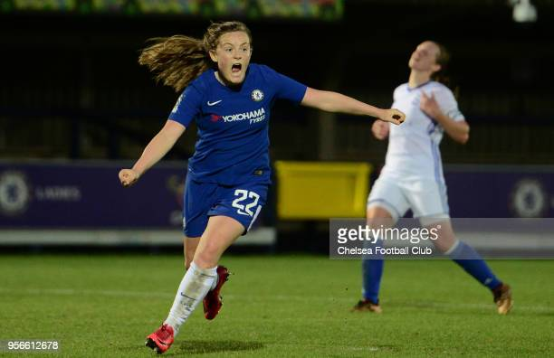 Erin Cutbert of Chelsea celebrates after she scores to make it 21 during a WSL match between Chelsea Ladies and Birmingham City Ladies at The Cherry...