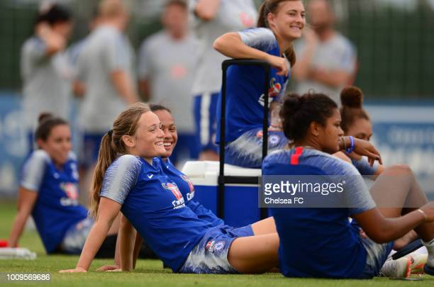 Erin Cuthbert and Drew Spence of Chelsea during their training session on August 01 2018 in Montpellier France