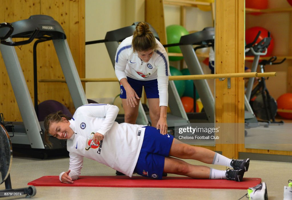 Erin Cuthbert and Maren Mjelde of Chelsea in the gym during a training session on August 23, 2017 in Schladming, Austria.