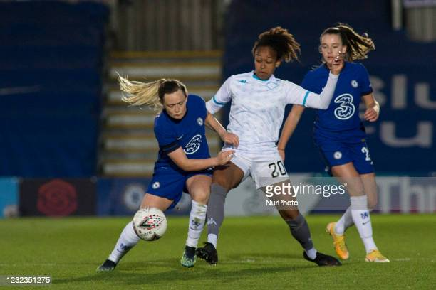 Erin Cuthbert battle for the ball during the 2020-21 FA Womens Cup fixture between Chelsea FC and London City at Kingsmeadow on April 16, 2021 in...