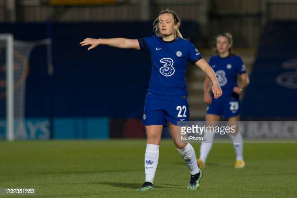 Erin Cuthbert gestures during the 2020-21 FA Womens Cup fixture between Chelsea FC and London City at Kingsmeadow on April 16, 2021 in Kingston upon...