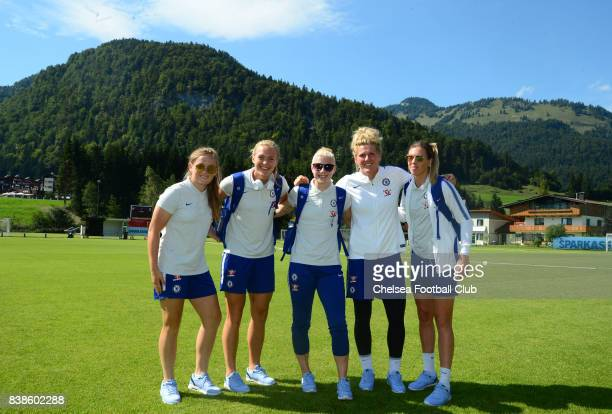 Erin Cuthbert Magdalena Eriksson Bethany England Mille Bright and Carley Telford of Chelsea before a Pre Season Friendly between Chelsea Ladies and...