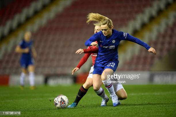Erin Cuthbert of Chelsea and Hayley Ladd of Manchester United during the FA Women's Continental League Cup SemiFinal match between Manchester United...