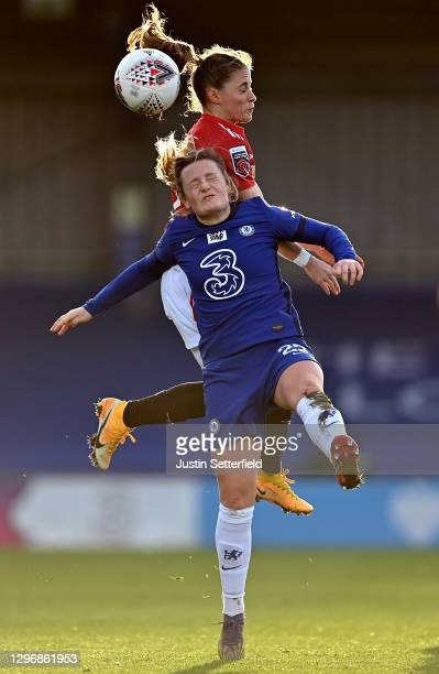 Erin Cuthbert of Chelsea and Ona Batlle Of Manchester United compete for the ball during the Barclays FA Women's Super League match between Chelsea...