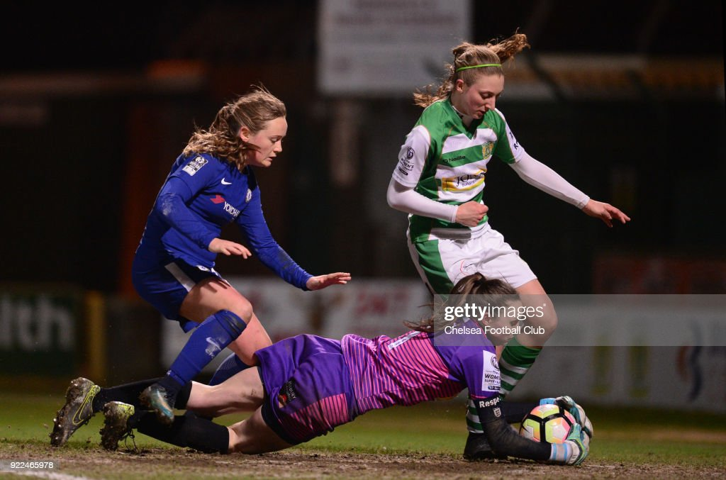 Erin Cuthbert of Chelsea battles for the ball during a WSL match between Chelsea and Yeovil Town Ladies at Huish Park on February 21, 2018 in Yeovil, England.