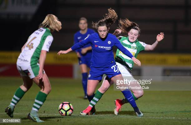 Erin Cuthbert of Chelsea battles for the ball during a WSL match between Chelsea and Yeovil Town Ladies at Huish Park on February 21 2018 in Yeovil...