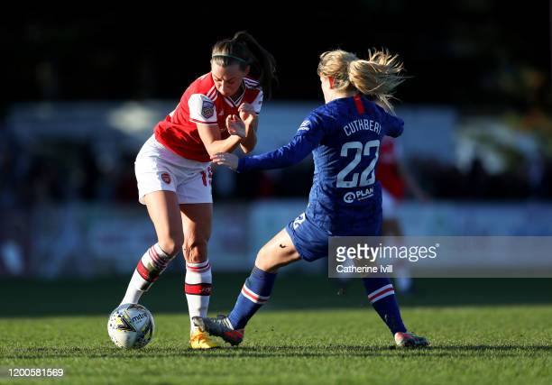 Erin Cuthbert of Chelsea blocks Katie McCabe of Arsenal during the Barclays FA Women's Super League match between Arsenal and Chelsea at Meadow Park...