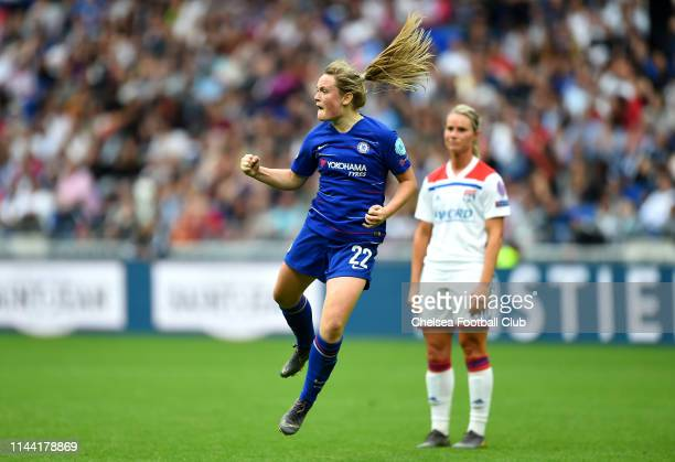 Erin Cuthbert of Chelsea celebrates after scoring her team's first goal during the Women UEFA Champions League semi final match between Olympique...