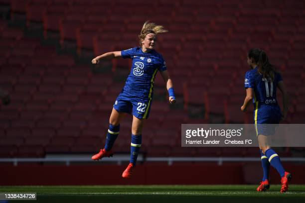 Erin Cuthbert of Chelsea celebrates after scoring her team's first goal during the Barclays FA Women's Super League match between Arsenal Women and...
