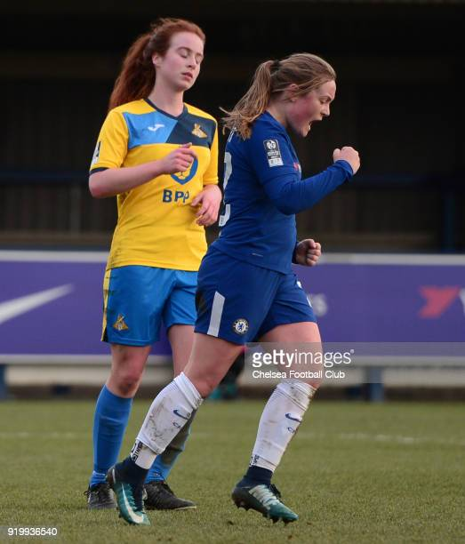 Erin Cuthbert of Chelsea celebrates after she scores to put her she 60 up during a FA Women's Cup 5th Round match between Chelsea and Doncaster...