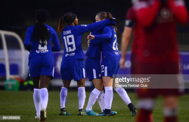 Erin Cuthbert of Chelsea celebrates with her team mates after she scores to make it 51 during a WSL match between Chelsea Ladies and Liverpool Ladies...