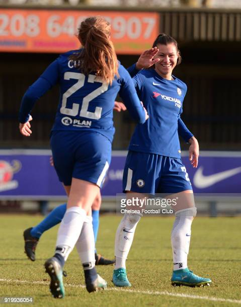 Erin Cuthbert of Chelsea celebrates with team mate Ramona Bachmann after she scores to put her side 40 up during a FA Women's Cup 5th Round match...