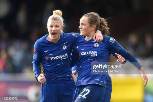 Erin Cuthbert of Chelsea celebrates with teammate Bethany England after scoring her team's first goal during the FA WSL match between Chelsea FC...