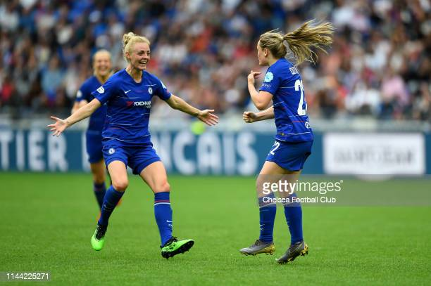 Erin Cuthbert of Chelsea celebrates with teammate Sophie Ingle after scoring her team's first goal during the Women UEFA Champions League semi final...